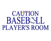 Caution Baseball Player's Room - Vinyl Wall Decal - Wall Decals, Wall Decor, Baseball Wall Decal, Baseball Decor, Baseball Decal