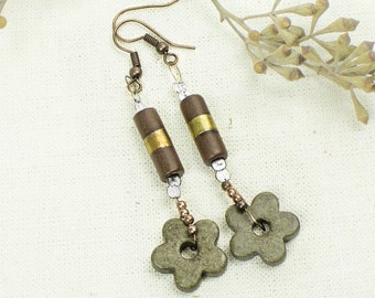 Olive Green Flower Earrings, Boho Jewelry, Gold line Beaded Earrings, Boho Flower Earrings, Woodland Earring Ceramic Modern Holiday gift