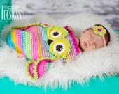 CROCHET PATTERN Ava the Owl Baby Hat, Sleeping Bag and Headband Crochet PDF Pattern