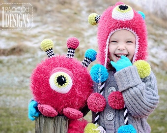 PATTERN - Neon the GumBall Monster Hat and Toy Set - Crochet PDF Pattern
