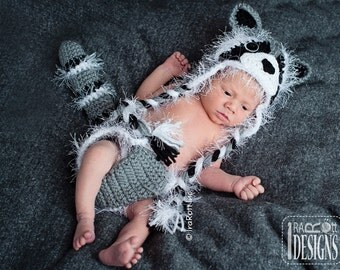 CROCHET PATTERN, Rocky the Raccoon Baby Hat and DIaper cover Set, Crochet Pattern in PDF