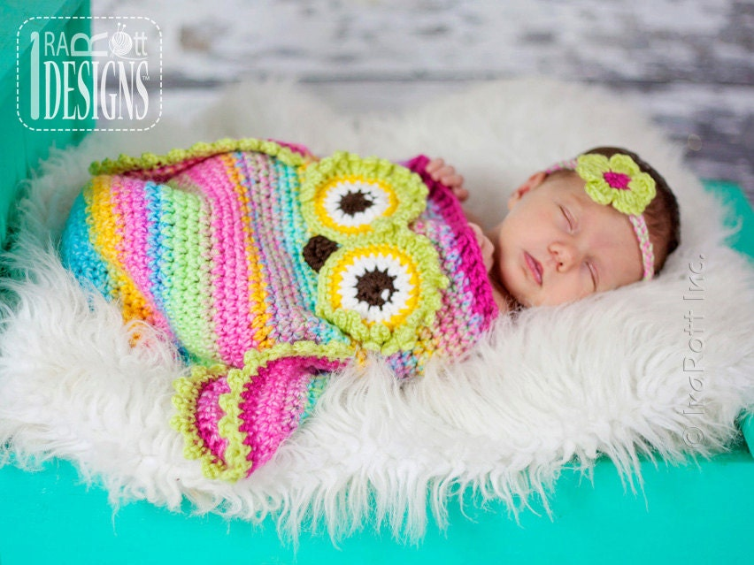 Crochet Pattern For Baby Sneakers : CROCHET PATTERN Ava the Owl Baby Hat Sleeping Bag and
