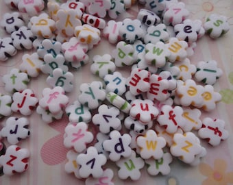 Wholesale 50pcs 11mmx11mm colorful Acrylic character/letter Beads with 1.5mm Hole