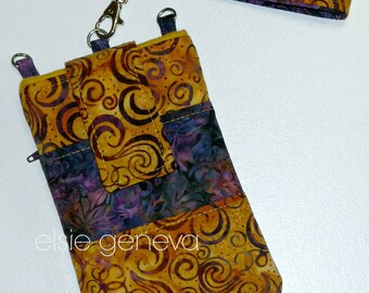 Gold and Puprle Swirls and Leaves Batik Phone Case Satchel Wristlet Back Zipper Pocket iPhone 4 5 6 Plus Note