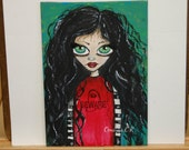 Whimsical painting folk art painting mixed media original  8x10 inch canvas board -BEWARE GIRL