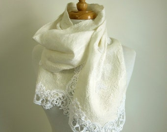 White Wool and Silk Scarf - Felted Lace Scarf - Made in Australia