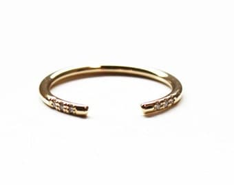 Cuff Ring (14K gold with diamonds) size 4 only in stock!