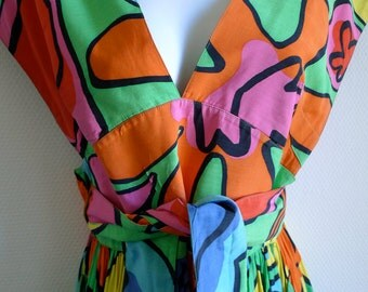 Thierry MUGLER vintage 80s colorful summer dress with floral graphic design