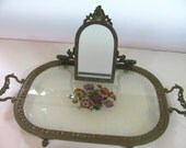 Antique  Bronze Austrian Vanity Tray W/ Folding Mirror - Fine Needlework in Double Layer Glass