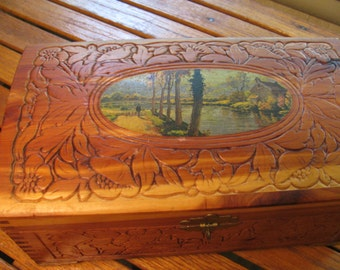 Jewelry Box w/ Mirror - 1940s Hand Carved Cedar - Landscape Image - Joinery Corners -