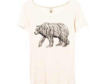 Womens California Bear Shirt - Womens Bear Tshirt - Bear Shirt - Bamboo - Eco Friendly Organic Cotton - Small, Medium, Large, XL