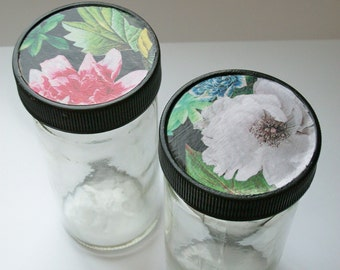 Decoupaged Jars Modern Flowers Set of Two One of a Kind Upcycled Repurposed