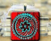 CIJ SALE Mandala Pendant necklace - Red Turquoise  - #621