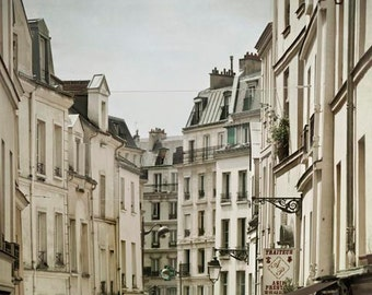 Rue Mouffetard, Paris Print, Beige, Gray, Travel, Rustic Kitchen Decor, Neutral, Paris Street, Paris Roofs, Paris Wall Decor