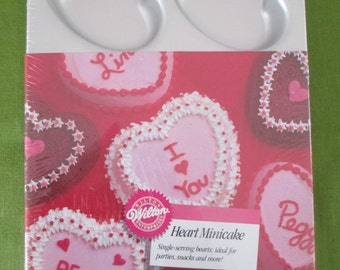 WILTON HEART MINICAKE Cake Pan, Cupcakes, Muffins, Brownies, #2105-11044 Never Used!
