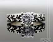 Ladies Narrow Tire Tread Ring with CZ - Sterling Silver