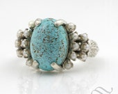 Turquoise and Pearl Cocktail Ring in Sterling Silver