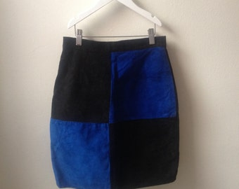 Vintage 80s 90s Black and Blue Suede Pencil Skirt XS S