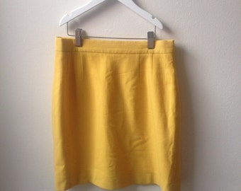 Vintage 80s 90s High Waisted Yellow Pencil Skirt Size 8
