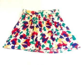 Vintage 80s High Waisted Skater Skirt Size S M L