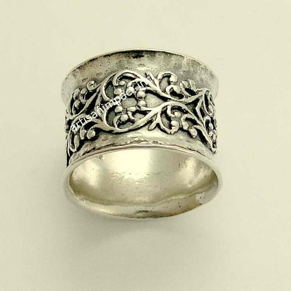 wide ring sterling silver ring wedding band filigree
