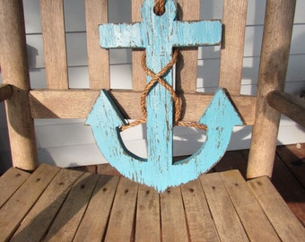 Reclaimed Wood Anchor. Turquoise Anchor.  Distressed Anchor. Wooden Anchor. Nautical Decor. Beach Decor. Made to Order