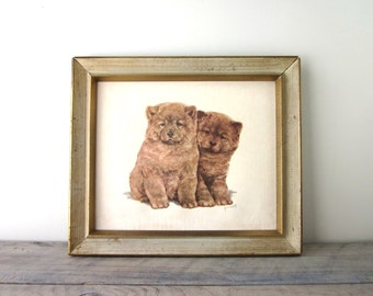 Vintage Grace Lopez Puppies Dogs Picture Framed
