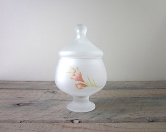Mid Century Modern Frosted Glass Canister Apothecary Jar with Pink Flower Vanity Jar