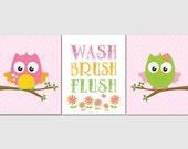 Owl Bathroom Wall Art for Kids Girl Bathroom. Kids Bathroom Art, Circo Owls, Wash, Brush, Flush, Green, Orange, Pink Canvas Option  Set of 3