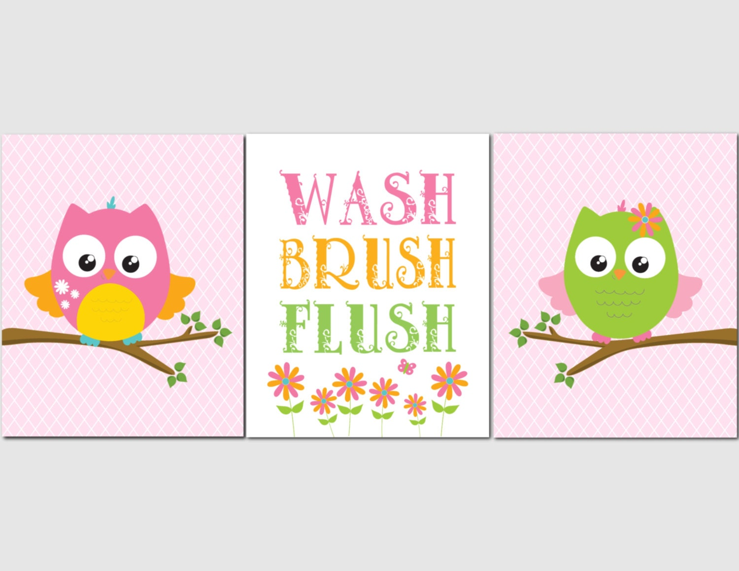 Kids Bathroom Wall Art owl bathroom wall art for kids girl bathroom. kids bathroom