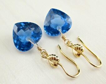 Gold London Blue Topaz Earrings, 14k Gold Filled, Royal Blue Earrings, Blue Gemstone Dangle Blue Topaz Jewelry, Topaz Heart Earrings, Luxe
