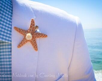 Unique Beach Wedding Starfish Boutonniere, Beach Wedding Lapel Pin, Starfish Lapel Pin, Vintage Wedding Decor, Groomsman