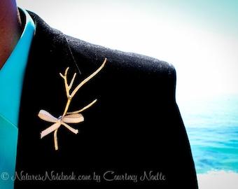 Unique Beach Wedding Boutonniere, Beach Wedding Lapel Pin, Vintage Wedding Decor, Gold or Silver Edge Ribbon, Coral Inspired