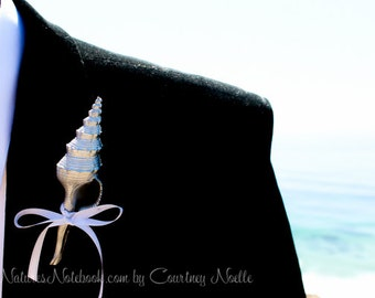 Unique Beach Wedding Seashell Boutonniere -  with 35 Ribbon Choices - Beach Lapel Pin - Groomsman Gift - Destination Beach Wedding