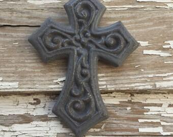 Small Gray Cast Iron Cross - Wall Decor - Wall Cross