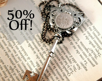 BIG SALE - coin skeleton key necklace - silver key with ribbons and flowers and coin victorian inspiration