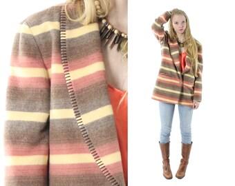 Vintage 90s Indian Blanket Jacket Striped Wool Blazer Boyfriend Blazer Southwestern Fashion 1990s Medium M Large L Casual Corner