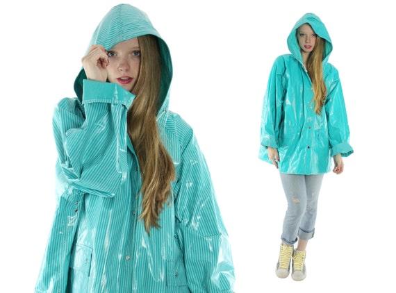 80s Vinyl Pvc Raincoat Slicker Plus Size Xl Aqua Striped