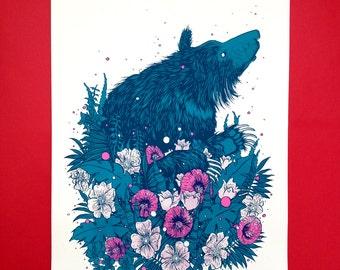 Sloth Bear limited edition screen print