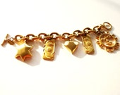 RESERVE RESERVE Vintage Gold Chain Charm Bracelet by Maxine Denker 7.75 Inches