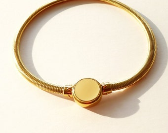 Sleek 1980s Monet Choker Necklace with Cream Enamel Disk 18 Inches  Gas Pipe Chain