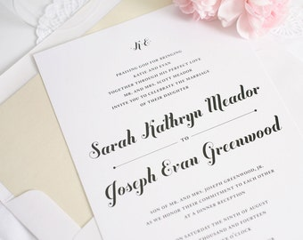 Neutral, Champagne Wedding Invitations - Modern Script Font - Whimsical, Chic Wedding Invite - Whimsy and Script Wedding Invitation