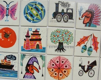 Set of 15 Vintage Childrens Memory Playing Cards - Set Nr. 7