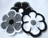 Gray Black and White Flower Trivets, Black and White Flower Pot Holders, Crochet Flower Table Decor or Wall Decor Ready to Ship