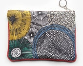 Zipper pouch with linear florals