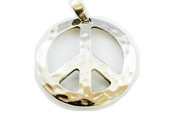 Large Peace Sign Pendant Solid 925 Sterling Silver 12.2 Grams By : Ezi Zino Design
