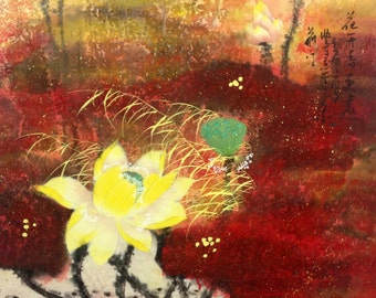 Lotus painting abstract painting original painting chinese ink painting