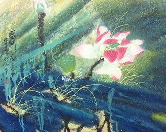abstract painting Lotus painting original painting chinese ink painting