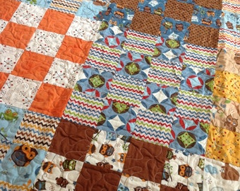 Hooty Hoot Quilt Twin coverlet -- brown, blue, orange, cream, gold