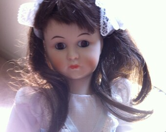 """Little Women Series Collectible Porcelain Doll - Jo Doll with Long Brown Hair, Brown Eyes, 12"""" Tall, Seymour Mann Doll 1982"""